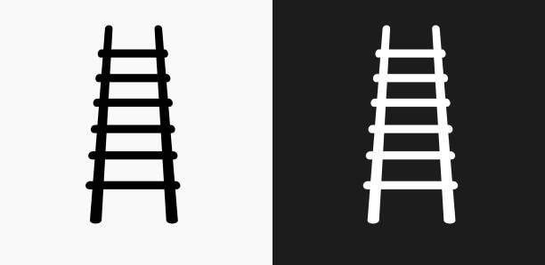 stockillustraties, clipart, cartoons en iconen met brand ladder pictogram op zwart-wit vector achtergronden - ladder