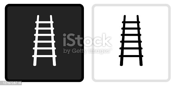 Fire Ladder Icon on  Black Button with White Rollover. This vector icon has two  variations. The first one on the left is dark gray with a black border and the second button on the right is white with a light gray border. The buttons are identical in size and will work perfectly as a roll-over combination.