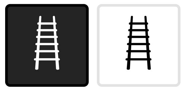 Fire Ladder Icon on  Black Button with White Rollover vector art illustration