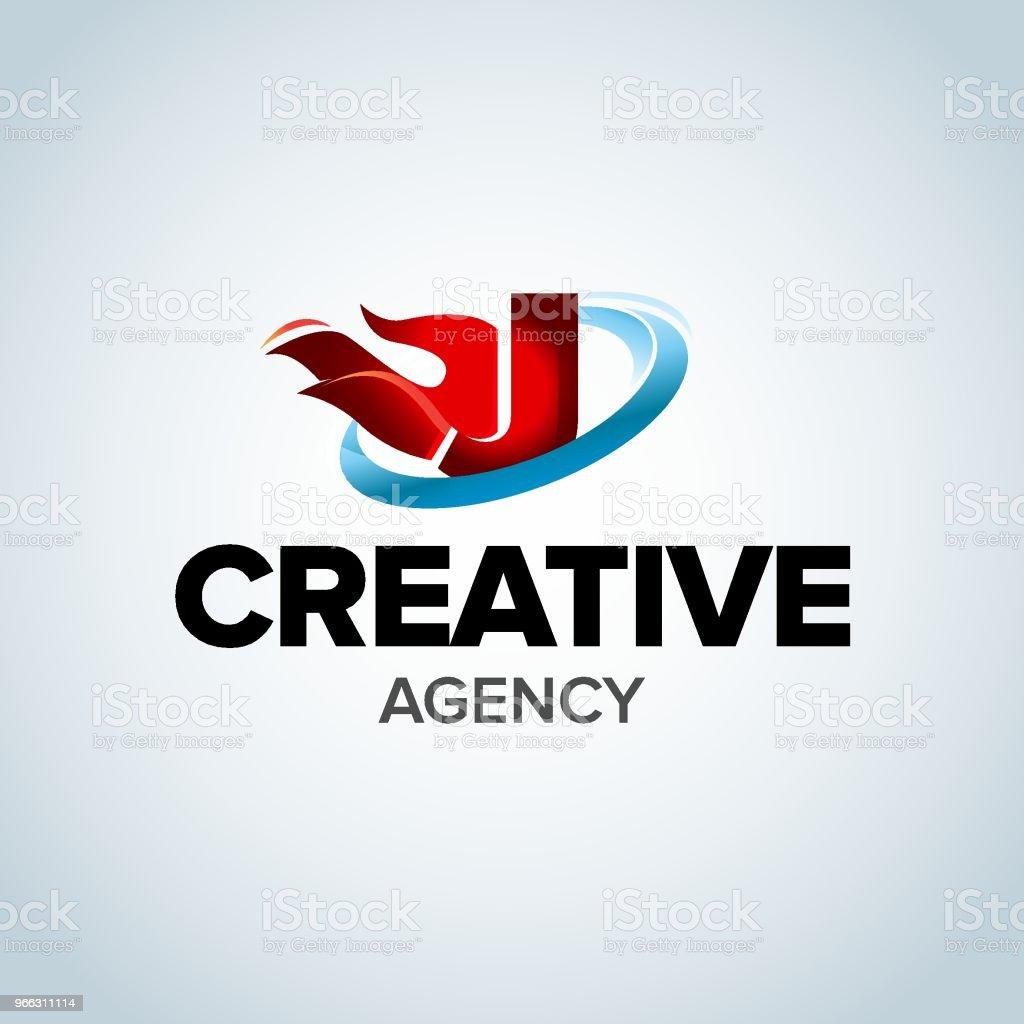fire letter j emblem template burning flame design element vector illustration royalty free