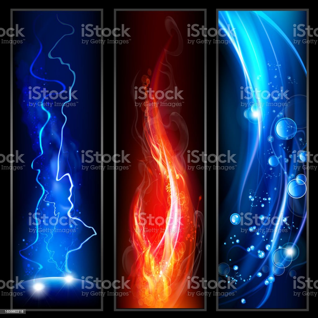 Fire, lightining and water royalty-free stock vector art
