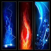Fire, lightining and water background. EPS 10 file. multiply, screen and transparency effects.