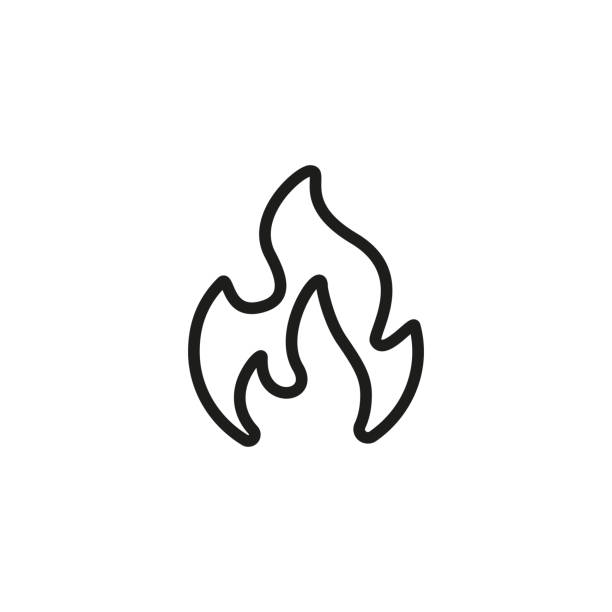 Fire Line Icon vector art illustration