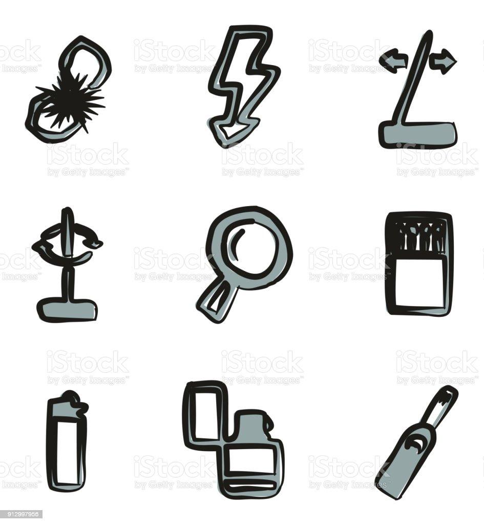 Feuer Machen Werkzeuge Symbole Freihand 2 Farbe Stock Vektor Art und ...