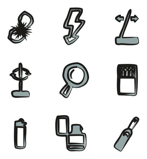 feuer machen werkzeuge symbole freihand 2 farbe - feuerzeuggas stock-grafiken, -clipart, -cartoons und -symbole