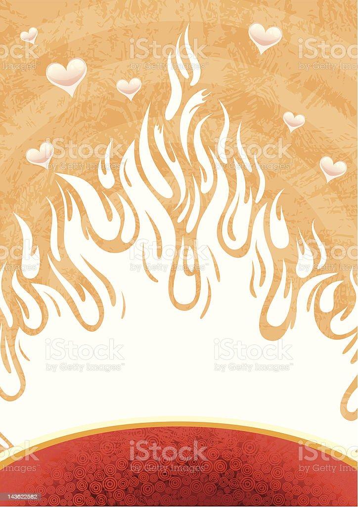 Fire of love vector art illustration