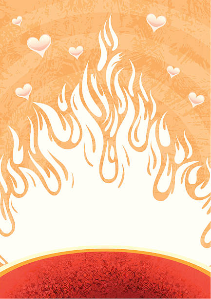 Fire of love vector art illustration