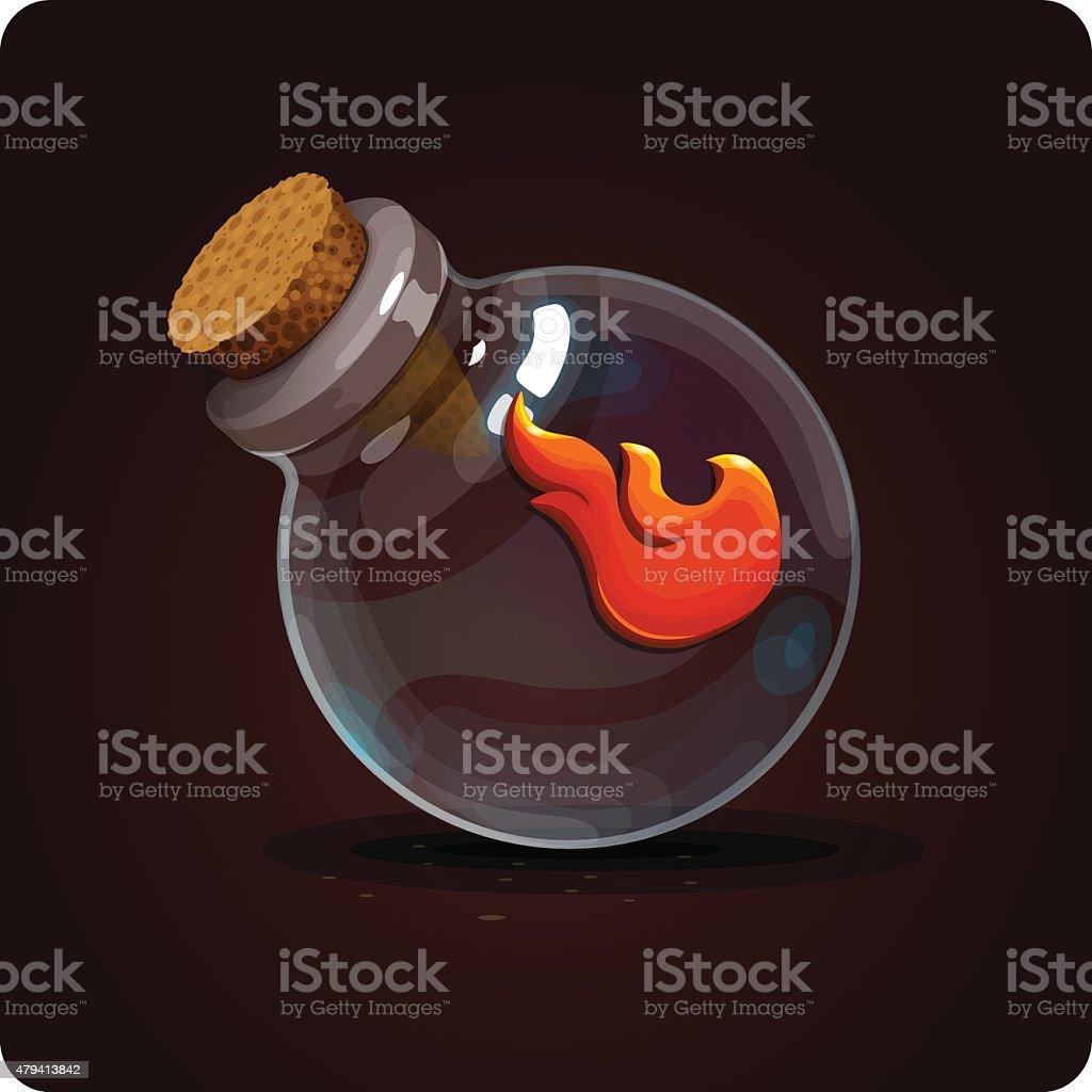 fire on the bottle vector art illustration
