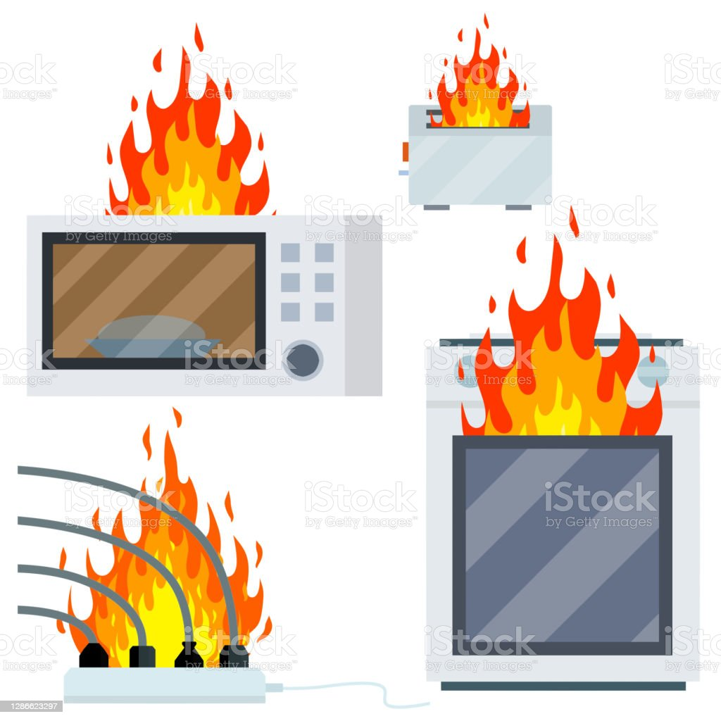 Fire on the stove. Burning microwave, toaster, wire with cable and socket - Royalty-free Amarelo arte vetorial