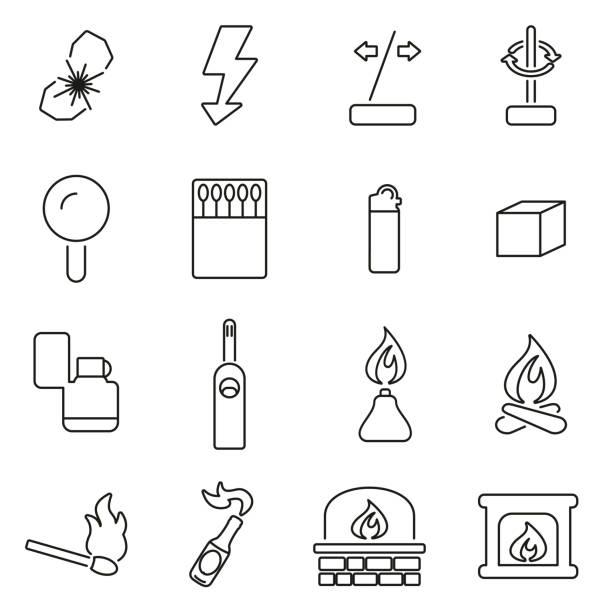brand oder feuer machen werkzeuge symbole dünne linie vektor-illustration-set - feuerzeuggas stock-grafiken, -clipart, -cartoons und -symbole