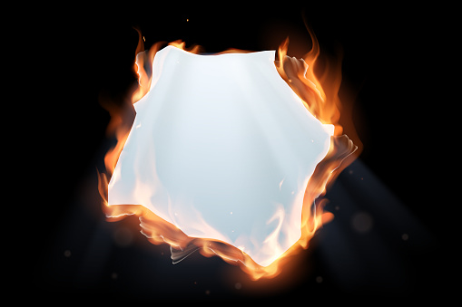 Fire paper hole with light effect