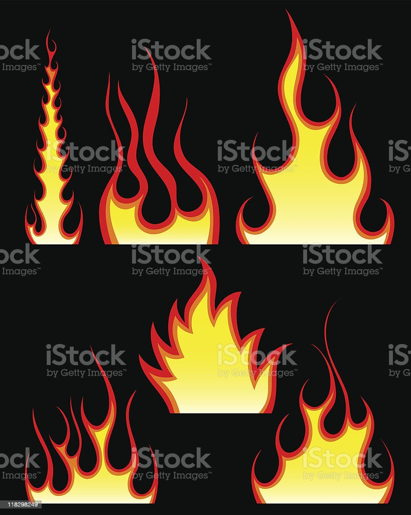 fire patterns set royalty-free stock vector art