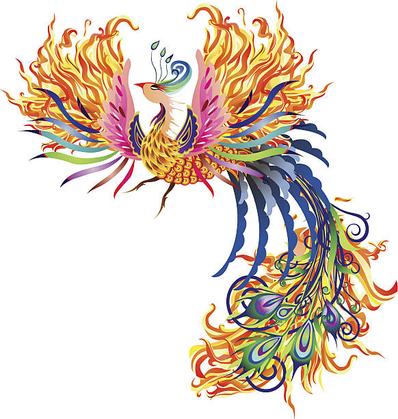 fire phoenix - fire tattoos stock illustrations, clip art, cartoons, & icons
