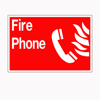 Fire Phone Symbol Sign, Vector Illustration, Isolated On White Background Label. EPS10