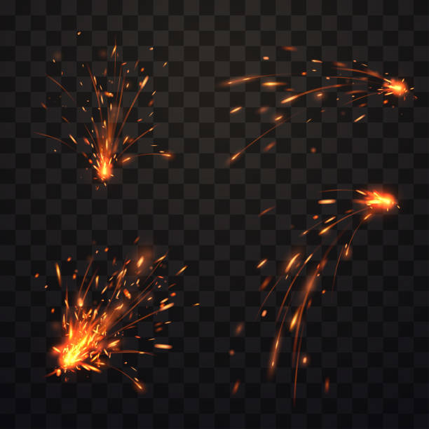 fire prarks set - spark stock illustrations
