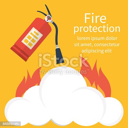 Fire protection. Fire safety. Fire extinguisher aimed at the fire. Vector illustration flat design. Template banner for web design and print. Place to describe instructions in case of fire.