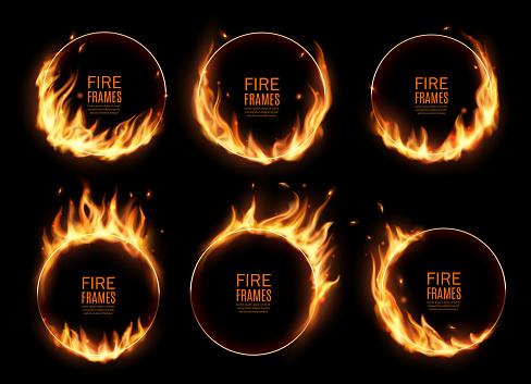 Fire rings, burning vector round frames. Realistic burn circles with flame tongues on edges. 3d flare circles for circus performance, Burned hoops or holes in fire, isolated circular borders set
