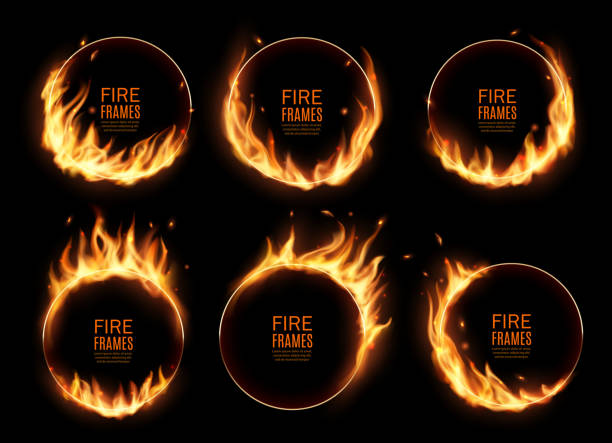 Fire rings, burning vector round frames, borders Fire rings, burning vector round frames. Realistic burn circles with flame tongues on edges. 3d flare circles for circus performance, Burned hoops or holes in fire, isolated circular borders set fire natural phenomenon stock illustrations