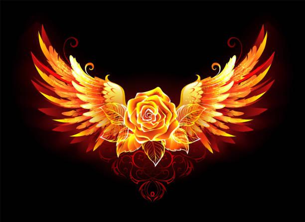 stockillustraties, clipart, cartoons en iconen met fire rose met vleugels - bloemen storm
