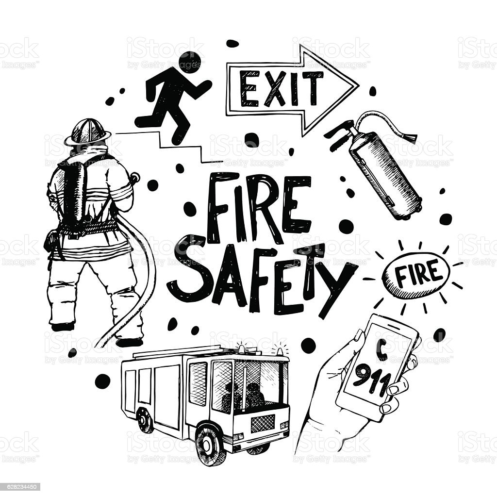 fire safety and means of salvation icons set in circle stock vector art  u0026 more images of