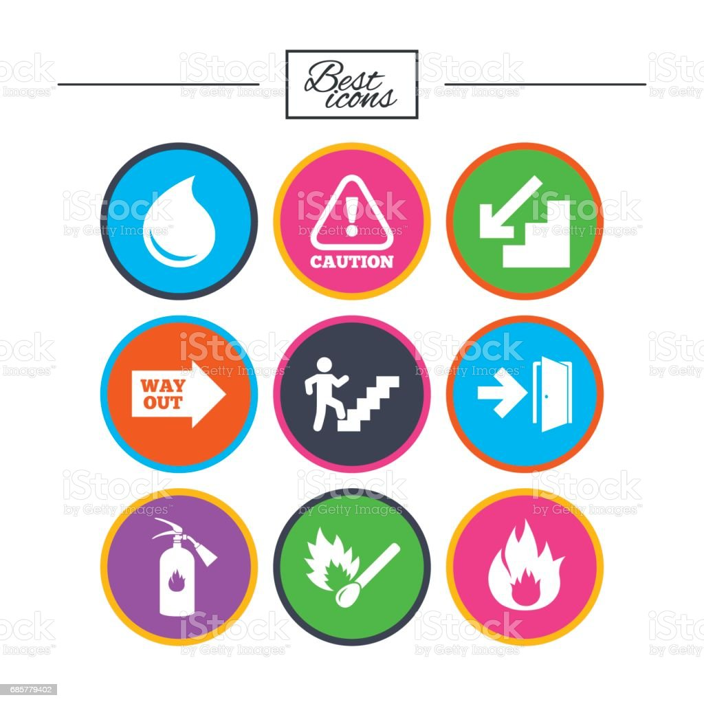 Fire safety, emergency icons. Extinguisher sign. royalty-free fire safety emergency icons extinguisher sign stock vector art & more images of arrow symbol