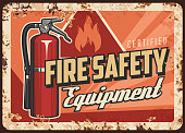 Fire safety equipment rusty metal plate. Dry chemical, foam or clean agent fire extinguisher with pressure gauge and rubber hose, warning triangle sign vector. Fire safety devices shop retro banner