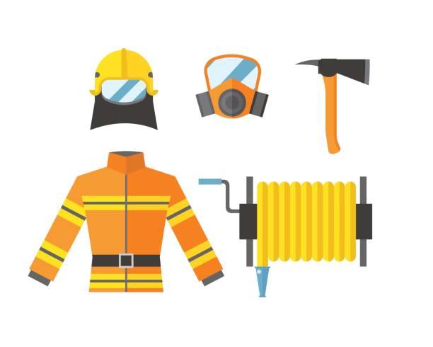 feuer-sicherheit ausrüstung notfall werkzeuge feuerwehrmann sicher gefahr unfall flamme schutz vektor-illustration - kaminverkleidungen stock-grafiken, -clipart, -cartoons und -symbole