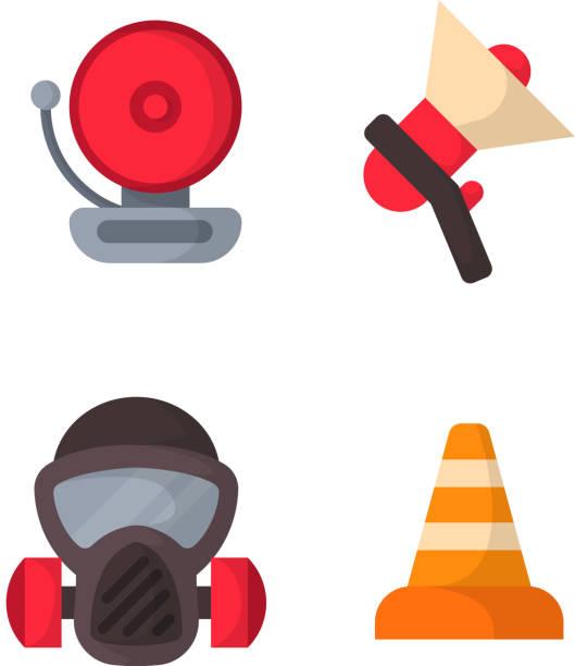 feuer-sicherheit ausrüstung notfall werkzeuge feuerwehrmann sicher gefahr unfall schutz vektor-illustration - kaminverkleidungen stock-grafiken, -clipart, -cartoons und -symbole