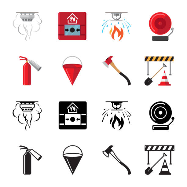 bildbanksillustrationer, clip art samt tecknat material och ikoner med brandsäkerhet platt ikoner vektor av set - fire alarm