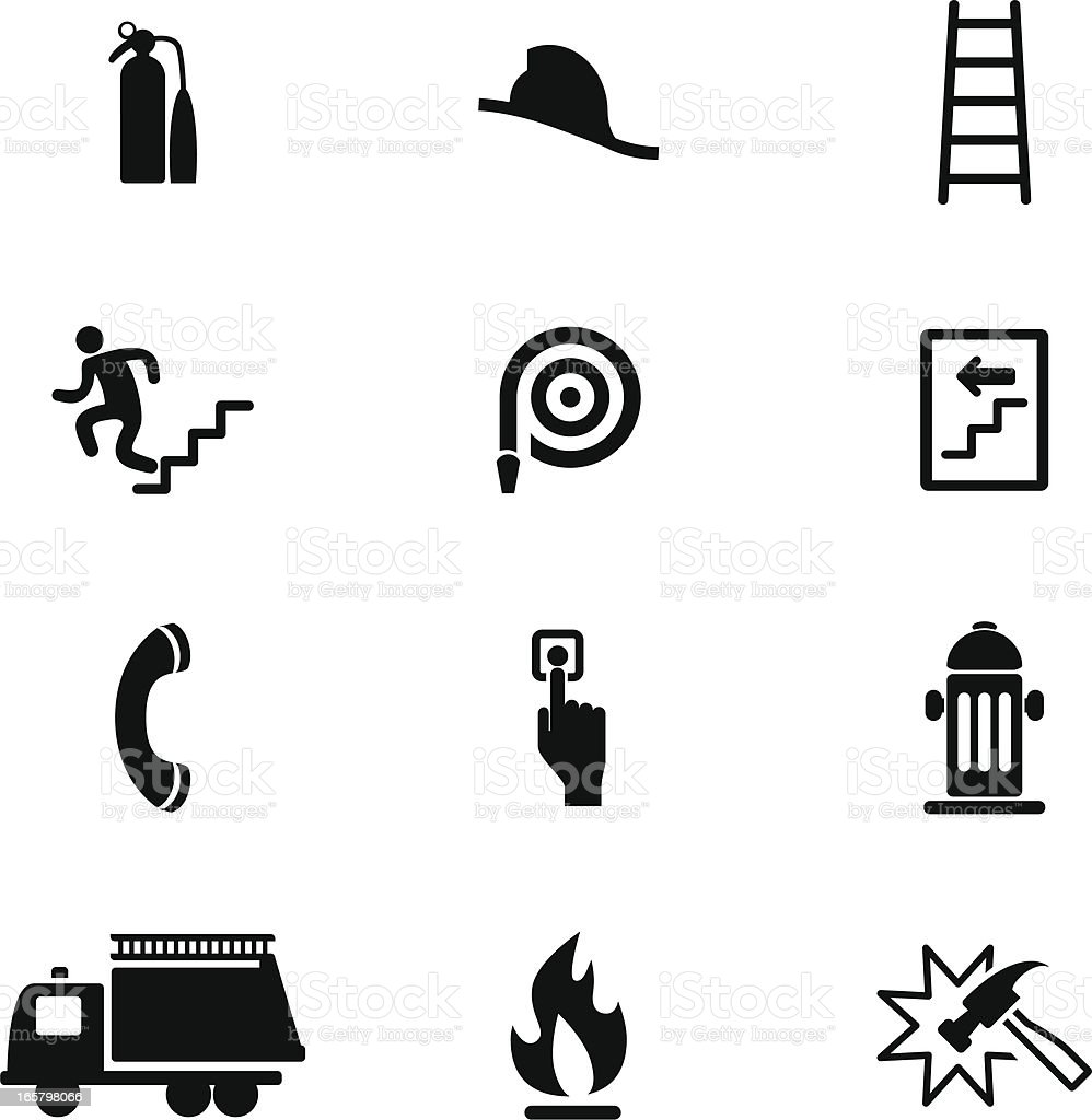 Fire Safety Icon Set vector art illustration
