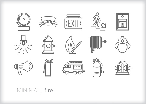 Set of 15 fire safety line icons including alarm, smoke detector, exit sign, sprinkler, water hydrant, match, hose, fireman helmet, oxygen tank, fire truck and extinguisher