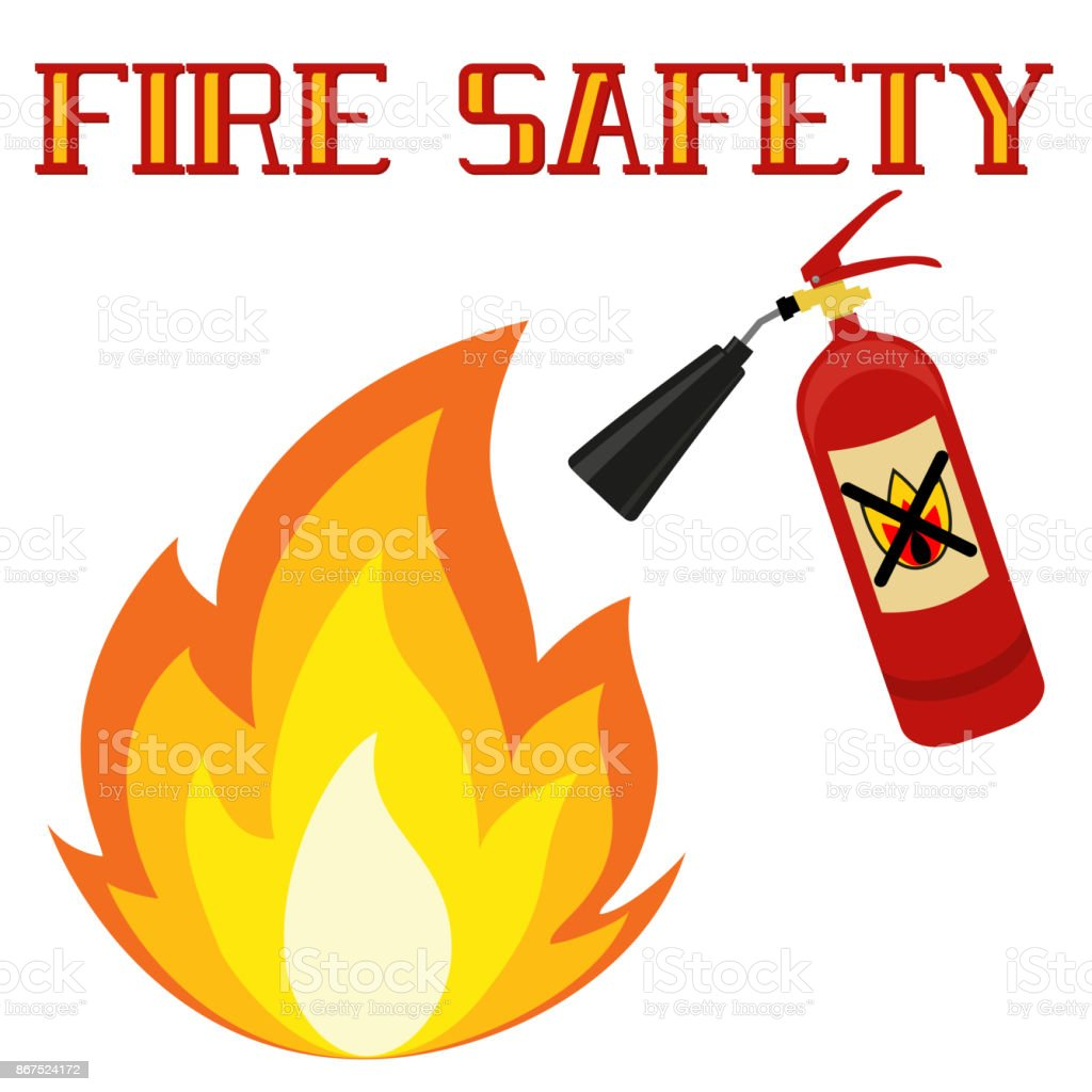 fire safety poster isolated on white background stock vector art rh istockphoto com fire protection clipart fire safety clipart black and white