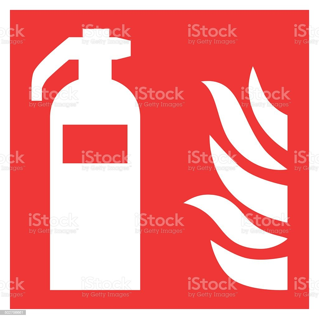 Fire safety sign FIRE EXTINGUISHER vector art illustration
