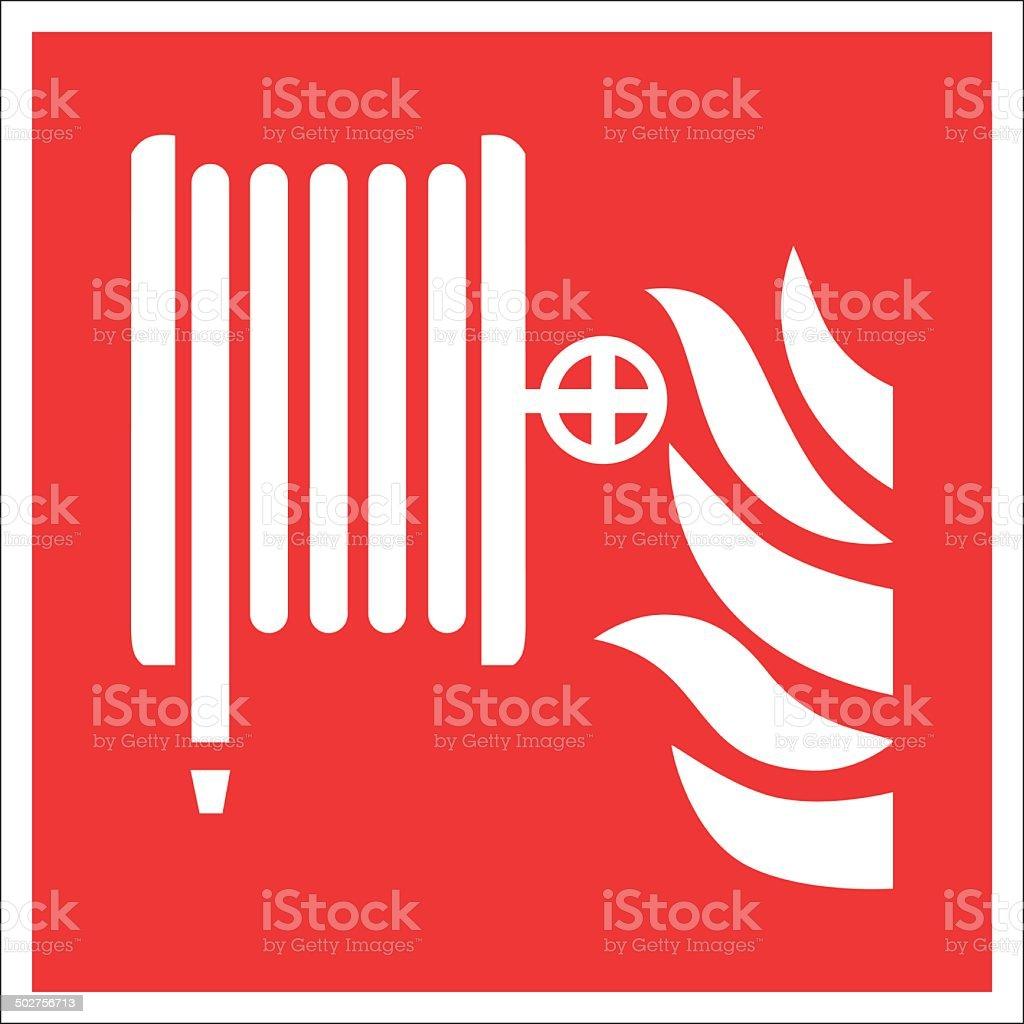 Fire safety sign FIRE HOSE REEL vector art illustration