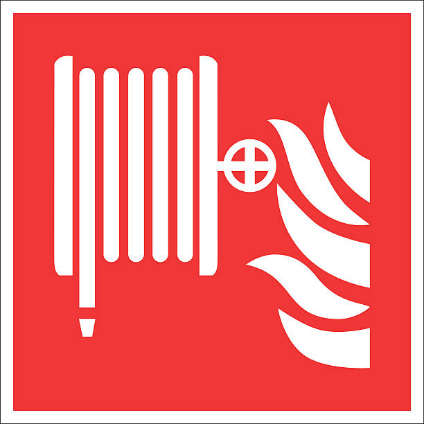 Fire safety sign FIRE HOSE REEL Fire safety sign FIRE HOSE REEL fire hose stock illustrations