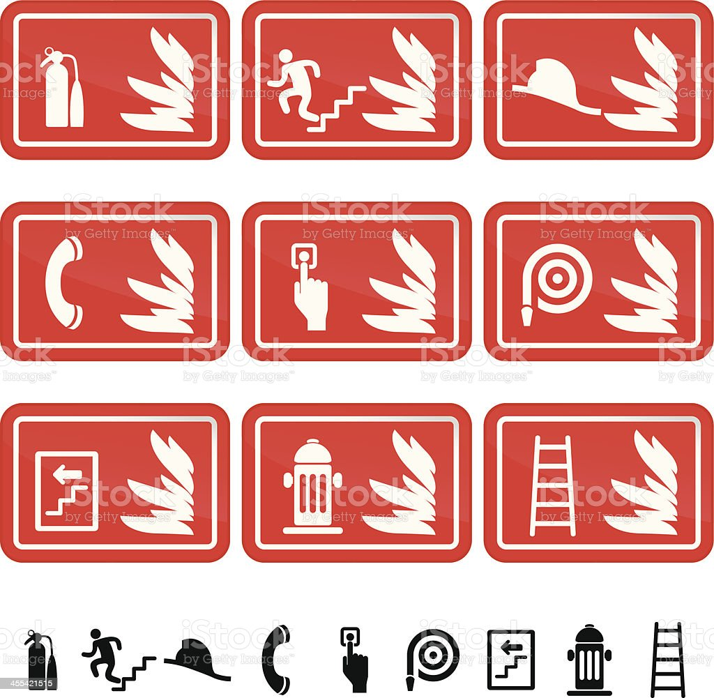 Fire Safety Sign Icon Set vector art illustration