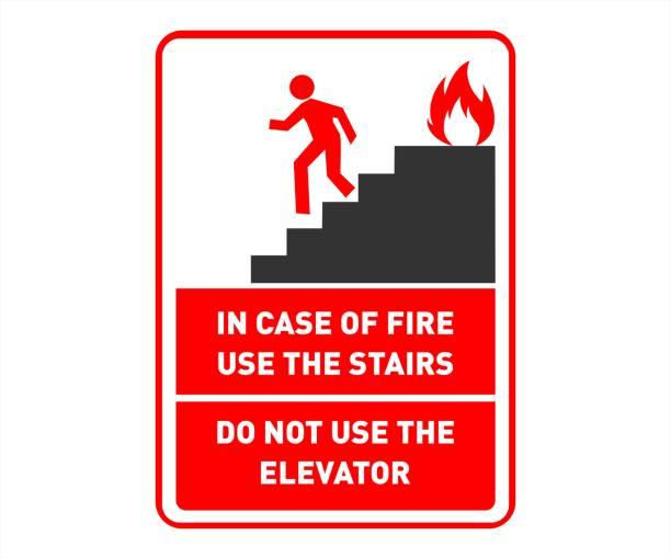 brandschutzzeichen, poster-die treppe benutzen und nicht aufzug - türposter stock-grafiken, -clipart, -cartoons und -symbole