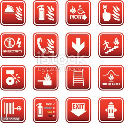Collections of signs for Fire Safety and Emergencies.