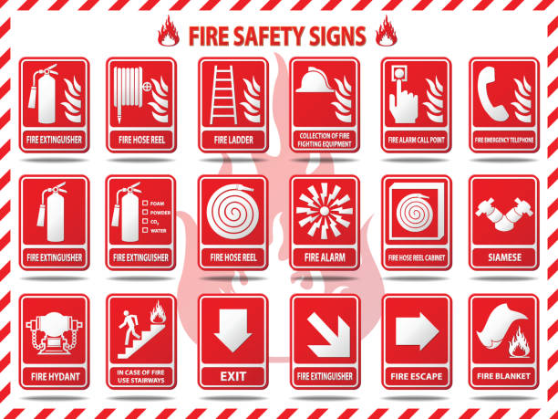 Fire Safety Signs Vector Illustration : Fire Safety Signs fire hose stock illustrations