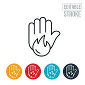 An icon of a hand with a stop gesture and a flame suggesting fire safety or fire restriction. The icon includes editable strokes or outlines using the EPS vector file.