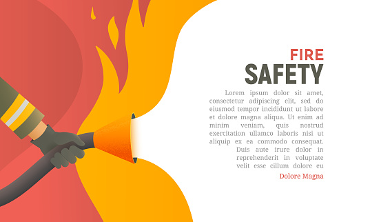 Fire safety vector illustration. Precautions the use of fire background template. A firefighter fights a fire cartoon flat design. Natural fires and disasters web banner