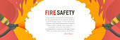 Fire safety vector illustration. Precautions the use of fire background template. A firefighter fights a fire cartoon flat design. Natural fires and disasters web banner.
