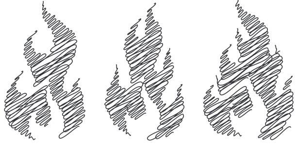 ilustrações de stock, clip art, desenhos animados e ícones de fire scribble - burned cooking