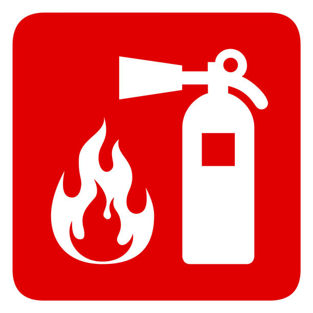 Fire security Fire safety red banner isolated on white background. Fire extinguisher and flame symbols. Vector illustration emergency equipment stock illustrations