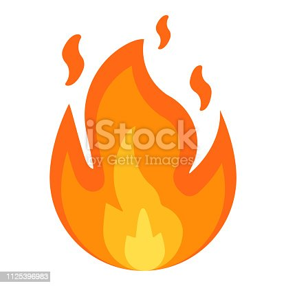 istock Fire sign. Fire flames icon isolated on white background. Vector illustration. 1125396983