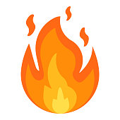 Fire sign. Fire flames icon isolated on white background. Vector illustration.