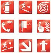 Set of nine fire signals.