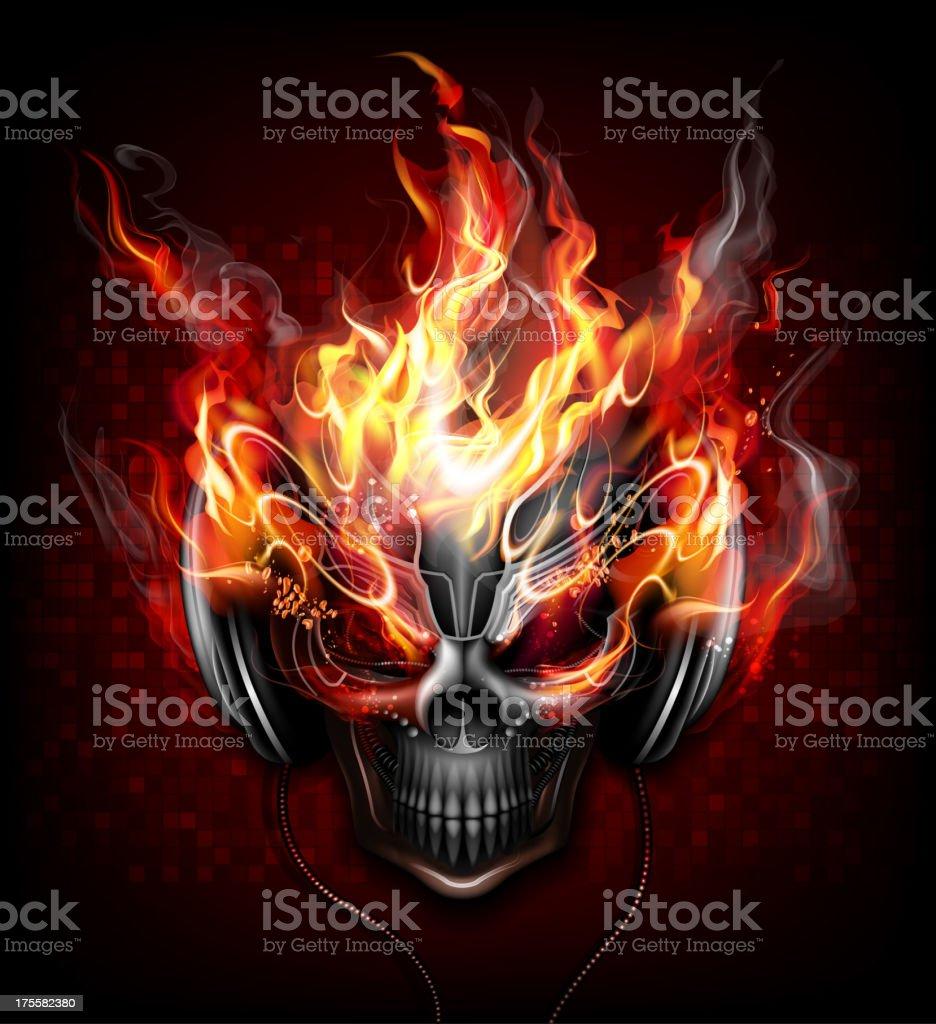 DJ fire skull vector art illustration