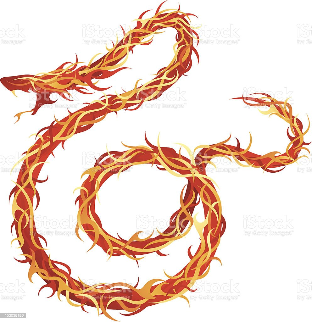 Fire Snake royalty-free fire snake stock vector art & more images of aggression