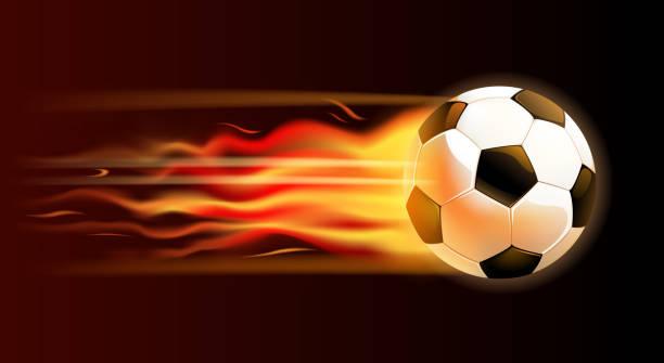 bildbanksillustrationer, clip art samt tecknat material och ikoner med fire soccer ball - fotboll eld